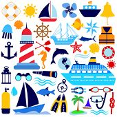 picture of nautical equipment  - nautical icon set - JPG