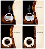 Four design coffee backgrounds. Vector.