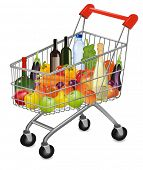A shopping cart full of fresh colorful products. Vector illustration.
