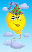 Color illustration of balloon with party cap on sky.