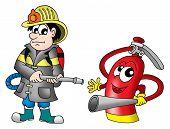 Fireman and fire extinguisher - color illustration.