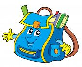 School bag on white background - vector illustration.