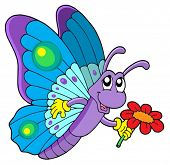 Cute butterfly holding flower - vector illustration.