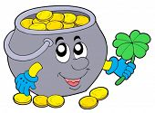 Lucky pot of money - vector illustration.