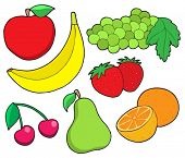 Fruit collection 1 on white background - vector illustration.