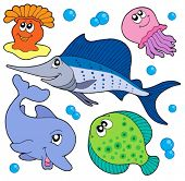 Cute marine animals collection 2 - vector illustration.