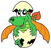 Cute dragon in egg - vector illustration.