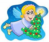 Angel holding Christmas tree - color illustration.