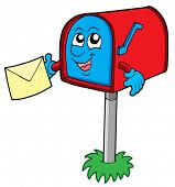 Mail box with letter - vector illustration.