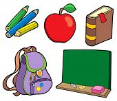 Various school items - vector illustration.