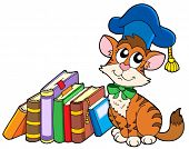 Cat teacher with books - vector illustration.