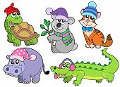 ZOO animals in winter clothes collection 1 - vector illustration.