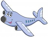 Cartoon airplane on white background - vector illustration.