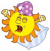 Waking up Sun - vector illustration.