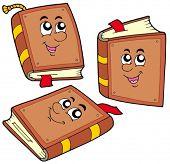 Cartoon books in various positions - vector illustration.