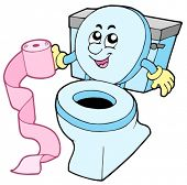 Cartoon toilet on white background - vector illustration.