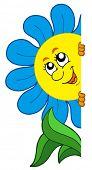 Lurking cartoon flower - vector illustration.