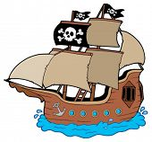 Pirate ship on white background - vector illustration.