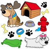 Dog pictures collection - vector illustration.