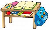 School table on white background - vector illustration.