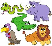 Wildlife cute animals collection - vector illustration.