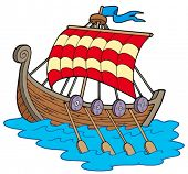 Viking boat on white background - vector illustration.