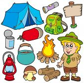 picture of boy scouts  - Outdoor collection on white background  - JPG