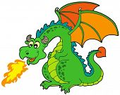 stock photo of dragon head  - Cartoon fire dragon  - JPG