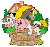 Group of farm animals - vector illustration.
