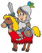 Dibujos animados caballero sentado a caballo - Ilustración vectorial.