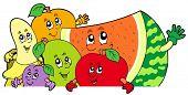 Lurking cartoon fruits - vector illustration.