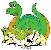 Dinosaur mom with cute babies - vector illustration.