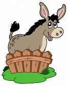 Cute donkey behind fence - vector illustration.