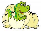 stock photo of dinosaur-eggs  - Young tyrannosaurus rex  - JPG