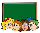 Various kids faces with blackboard - vector illustration.