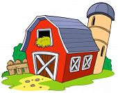 stock photo of red barn  - Cartoon red barn  - JPG
