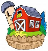 Cartoon red barn with fence - vector illustration.
