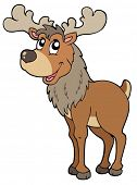 stock photo of cariboo  - Cartoon reindeer on white background  - JPG
