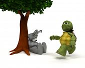 foto of the hare tortoise  - 3D Render of a Tortoise and Hare race metaphor - JPG