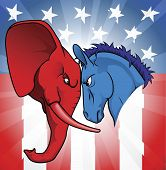 stock photo of united we stand  - The democrat and republican symbols of a donkey and elephant facing off - JPG