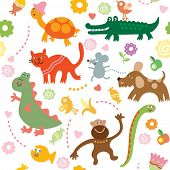 stock photo of dragon-fish  - Seamless vector elements of children - JPG