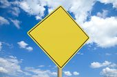 Blank yellow road sign with clipping path