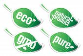 Set of ecology product stickers, GMO free.