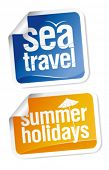 Hot summer travel stickers set