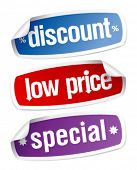 Set of stickers for discount sales.