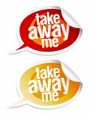 picture of eat me  - Take away me stickers in form of speech bubbles - JPG