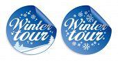 Christmas tour vector stickers set.