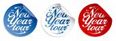 New Year tour vector stickers set.