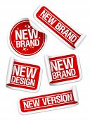 New Brand, Design, Version stickers set.