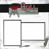 Grill Master Square Frame Scrapbook Template-Insert your Photos!